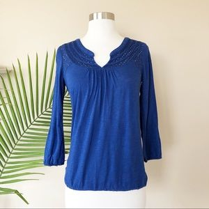Lucky Brand Royal Blue Laced Top